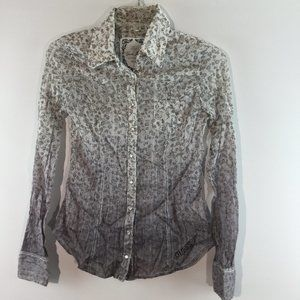 Guess print button down long sleeves top Size XS